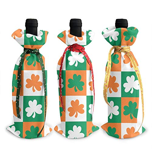 Wodehous Adonis Shamrock Ireland 3 Pcs Christmas Wine Bottle Covers Bags Gift Champagne Bags Home Party Decoration