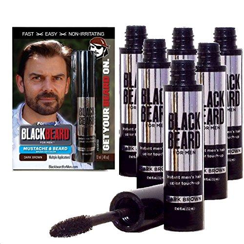 Blackbeard Beard (Blackbeard for Men - Instant Brush-on Beard & Mustache Color - 6-pack (Dark Brown))
