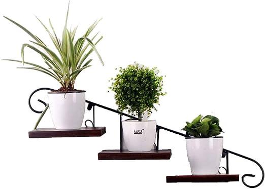 Estante de escalera de metal de hierro | Bastidores de flores | Estantes para jardineras de macetas de plantas montadas en la pared | Estantes de flores vintage retro | Estantería de