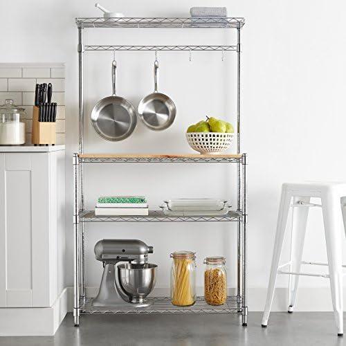 "518MZpAshwL. AC Amazon Basics Kitchen Storage Baker's Rack with Wood Table, Chrome/Wood - 63.4"" Height    An Amazon Brand"