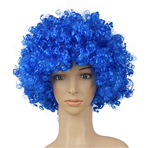 Women Men Funny Afro Clown Hair, Football Fan-Adult Afro Masquerade Hair Wig Party Disco Cosplay   -