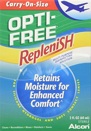 Contact Lens Solution Alcon (Opti-Free Replenish Multi Purpose Disinfecting Solution-2 oz (60 ml), Carry On Size)