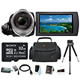 Sony HDR-CX455 Handycam Full HD 1080p Camcorder w/ 32GB Micro SD Card & Accessory Bundle