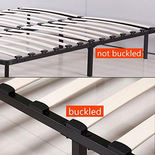UHOM Platform Metal Bed Frame Poplar Wooden Slat Support Queen