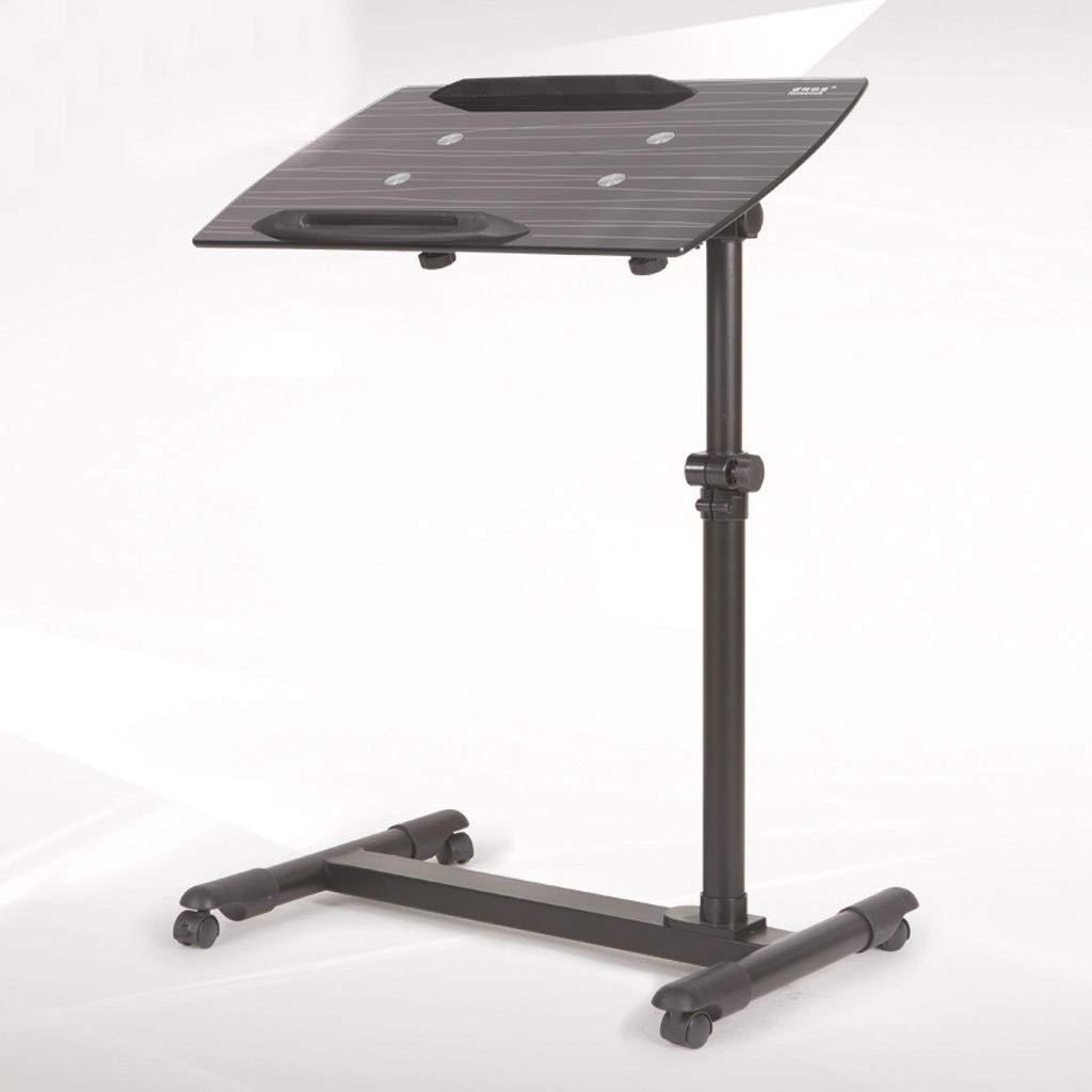 Cama de la Mesa del Ordenador portátil con la Tabla desprendible de la computadora de Cristal de la polea de la Correa de elevación (Negro)