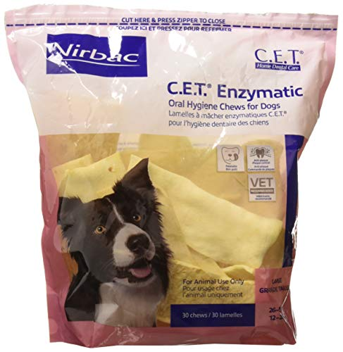 Virbac Corp C.E.T. Enzymatic Oral Hygiene Chews for Dogs 30 Chews (Large Dogs 26 to 50lbs) Treats Chews by CET