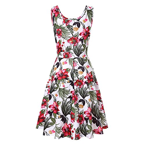 Sleeve Dress Swing amp;Sleeveless Floral Dress Women Casual 03 Party White Three Wobuoke Quarter Line sleeveless A Mini Printing pntqwFf