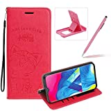 Strap Leather Case for Galaxy M20,Hot Pink Wallet Flip Case for Galaxy M20,Herzzer Elegant Classic Solid Color Magnetic Cute Fish Cat Printed Stand PU Leather Case with Soft TPU