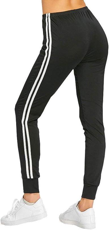 Hx Fashion Pantalones Para Mujer De Cintura Alta Skinny Sport Fitness Tamanos Comodos Pantalones Largos Elegantes Y Casuales Chica Adolescente A Rayas Negro Slim Fit Amazon Es Ropa Y Accesorios