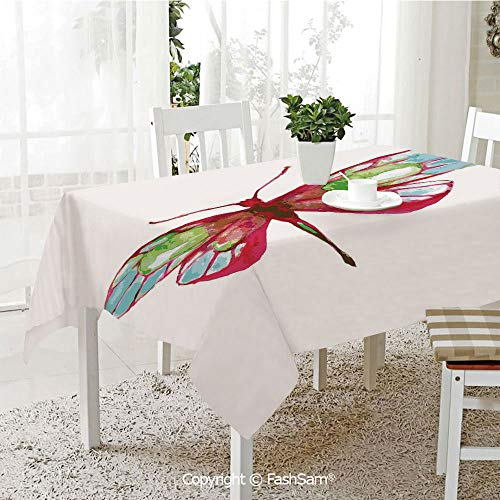 AmaUncle 3D Dinner Print Tablecloths Vivid Spring Time Inspired Moth Abstract Grunge Watercolor Design Kitchen Rectangular Table Cover (W60 xL104) -