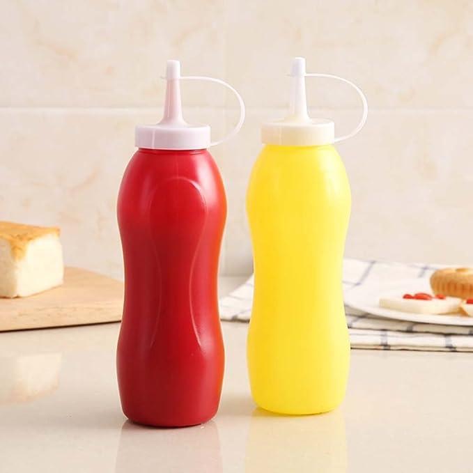 Somedays - 2 dispensadores de botellas de 250 ml de plástico para salsa de aceite, vinagre, chup y mostaza, dispensador de botellas de condimentos apretando ...