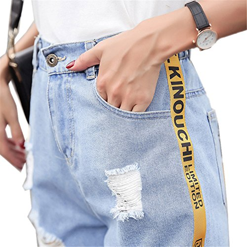 Madras Bermuda - JIANGTAOLANG Plus Size 5XL New Ripped Pocket Women Shorts Summer Casual Vintage Denim Shorts Blue 5XL