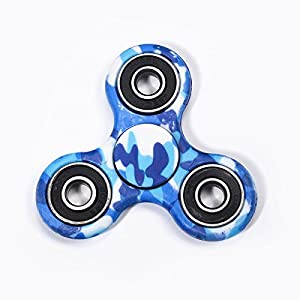 D-JOY Tri-Spinner Fidget Toy Hand Spinner Camouflage, Stress Reducer Relieve Anxiety and Boredom Camo (Camouflage blue)