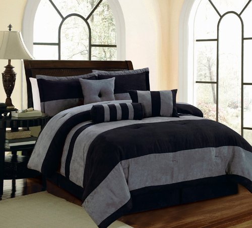 7 Piece Black Gray Micro Suede QUEEN Comforter Set with accent pillows