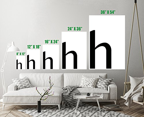 Letter H Black Monogram Typography Art Print Wall Decor Unstretched - Unframed Canvas 36 x 54 - (1170c Printer)