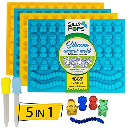 Non-Stick Gummy Bear Mold Bpa Free Silicone (Yellow, Blue) - Set of 4 for 172 Candies - 5 Different Types of Animals - Dropper Included - Candy Molds, Gummy Worm Mold, Gelatin Molds