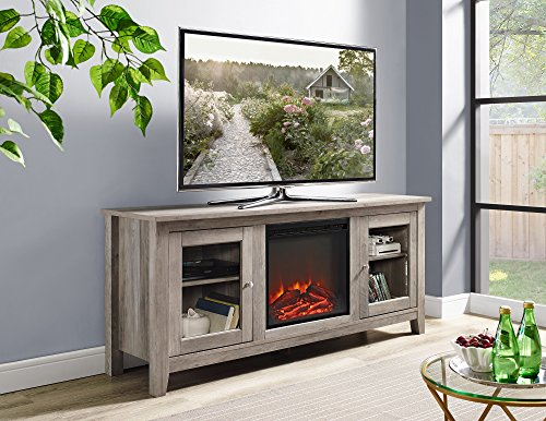 New 58 Inch Wide Television Stand with Fireplace in Grey Wash (58