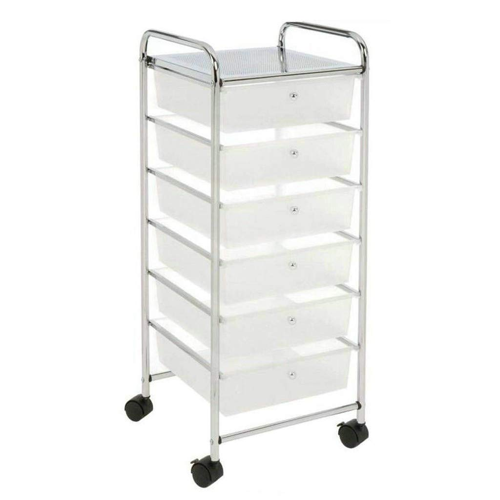 6 Drawer Rolling Storage Cart, Classics Large Storage Bin Organizer Cabinet Cart with Semi-Transparent White Drawers for School Office Home Beauty Salon Store (White)