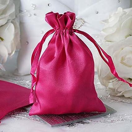 bb8492b6798c Efavormart 12PCS Fushia Satin Gift Bag Drawstring Pouch Wedding Favors  Bridal Shower Candy Jewelry Bags - 4