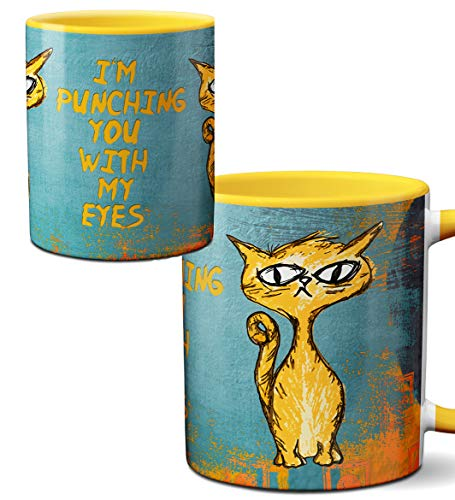 Eye Punch Cat Funny Mug by Pithitude - One Single 11oz.Yellow Coffee Cup