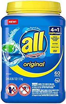 60-Count All Mighty Pacs Laundry Detergent 4 in 1 Stainlifter, Tub