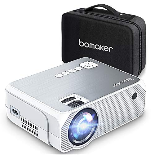 Portable Projector LCD Full HD 3600 Lux, BOMAKER Home Theater Mini Projector Native 720P Resolution 1080P Supported 250