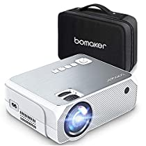 Mini Projector, BOMAKER GC555 Portable Projector with Carry Bag, 3,600 Lux LCD Video Projector, FULL HD 1920*1080P and 250 Display Supported, Compatible with TV Stick, PS4, HDMI, VGA, TF, AV and USB