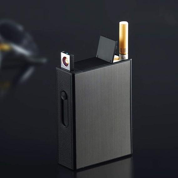 YyiHan Caja Cigarrillo, 2 En 1 Carga USB Popup Automático ...