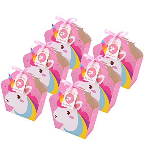 MORDUN 24 Unicorn Party Favor Bags Thank You Tags Included- Goodie Bags, Kids Birthday Party, Baby Shower, Rainbow, First Birthday, Treat Bag- Pink ()
