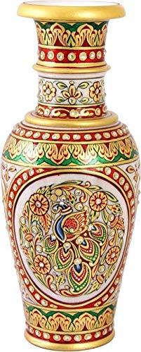 Buy Craftam Marble Handmade Decorative Peacock Painting Embossed Flower Vase Flower Pot 12 Inch Multicolour Online At Low Prices In India Amazon In