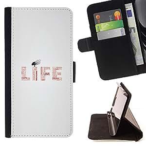 Momo Phone Case / Flip Funda de Cuero Case Cover - VIDA - MENSAJE TIPOGRAFÍA - HTC One M9