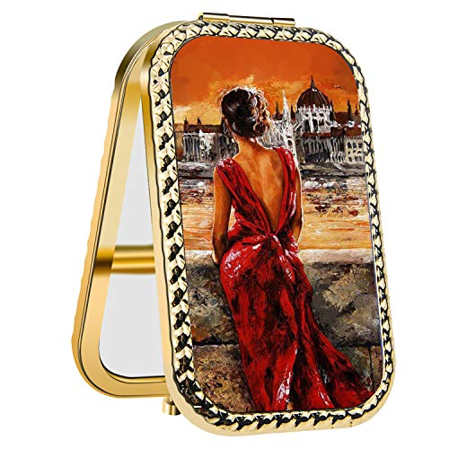 (IMLONE Rectangle Golden Women in Red Dress Compact Purse Mirror with 2X Magnification, Portable Folding Makeup Mirror, Great Choice and Best Gift for You and Your Friend)