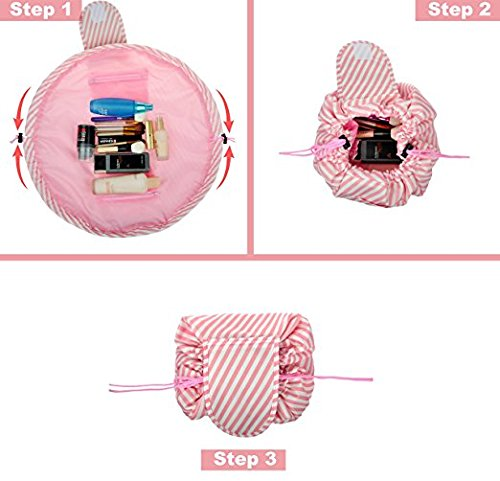 Drawstring Cosmetic Bag Travel Lazy Makeup Storage Bag Toiletry Bags Portable&Waterproof Quick Pack Large Cosmetic Bag Dual Magic Bags with Zipper&Drawstrings (Pink Stripe) by OTHEWELL (Image #2)