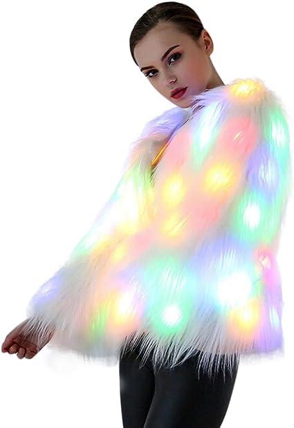 Women/'s Christmas Halloween Rainbow Faux Fur LED Jacket Coat Lantern Stage Pack