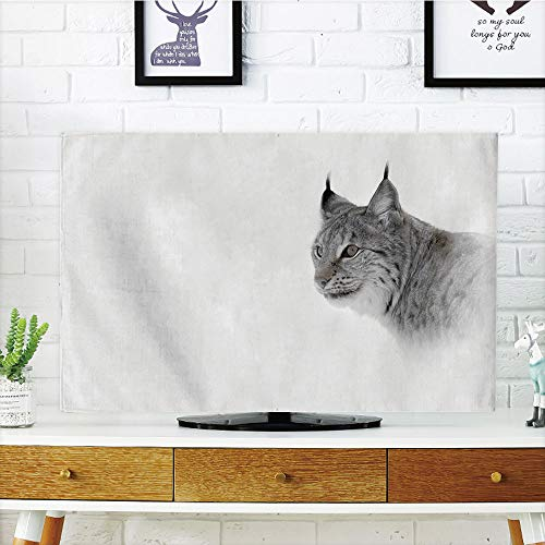 tyle,Hunting Decor,Lynx in Central Norway Wild Cat North Cold Snowy Mountain Carnivore Predator,Grey White,Customizable Design Compatible 55