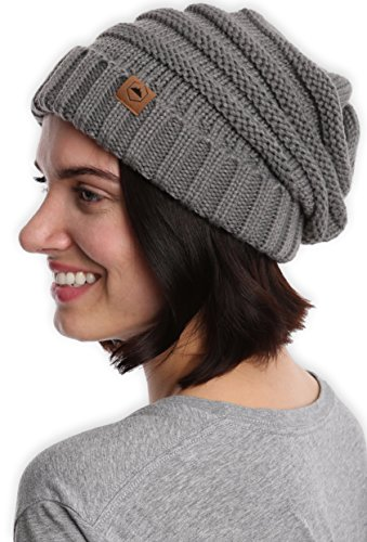 afb0d7a9a42 Slouchy Cable Knit Cuff Beanie by Tough Headwear - Chunky ...