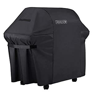 Wenscha (60 Inch) BBQ Grill Cover, 600D Heavy Duty Premium Cover for Weber Gas Grills, Fully Waterproof, UV & Fade & Rip Resistant, 60x30x48 Inches - Black
