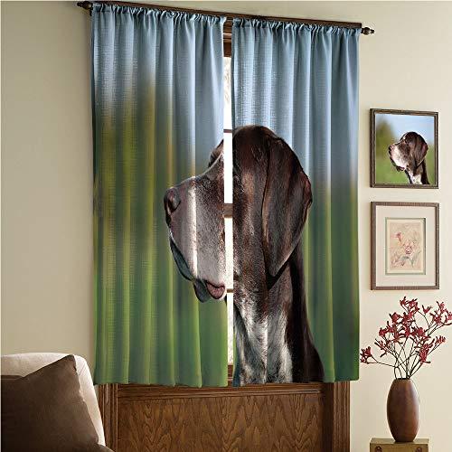 whitepurplecassie curtain Satin Silk Curtains Panels Suitable Fornursery,Bedroom,Living Room,Kitchen Cafe,Sheer Curtains,Reduce noisel,Pointer in Wilderness Portrait Photo Kurzhaar 84Wx63L Inch ()