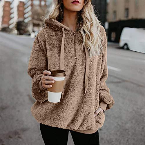 Talla con Capucha Khaki de Sudadera otoño para Mujer sólido Invierno Grande QinMM Abrigo Hoodie 6wEtaWqqz4