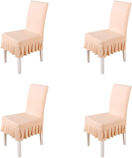 White 4pack larsuyar Stretch Spandex Washable Ruffled Short Dining Chair Cover for Wedding Party Hotel