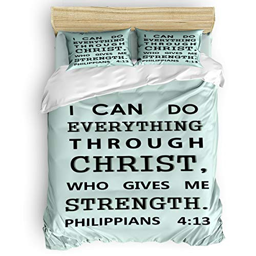 FOREVER 20 4 Pcs Bedding Set Comforter Cover Full, Bible Philippians Short Poem Cyan Duvet Cover, Flat Sheet, Pillow Shams for Children/Teens/Adults Home Bedroom/Apartment/Dormitory Use ()