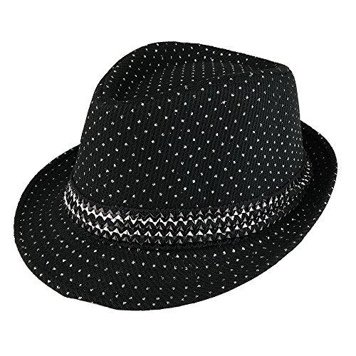 Trendy Apparel Shop Kid's Glitter Polka Dot Print Fedora Hat With Metallic Hat Band - Black