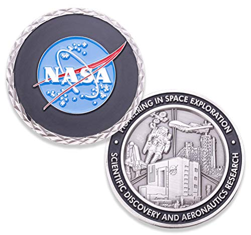 NASA Logo Challenge Coin - NASA Collectible Coin - Soft Enamel Mate Paint Official Logo of National Aeronautics & Space Administration Coins - Veteran Owned Company!