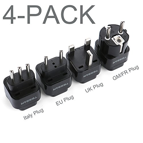 TESSAN Grounded Universal Travel Plug Adapter International European Travel Plug USA to UK/Italy/HK/GermanyFrance/ECT PlugAdapter Set-4 Pack by TESSAN
