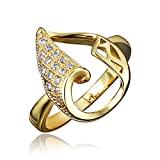 BLOOMCHARM 18K Gold Plated Stylish Engagement Wedding Eternity Ring, Gifts for Women Girls