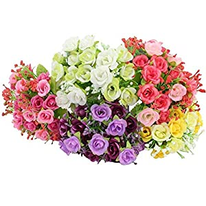 MARJON Flowers Rose Bouquet, Assorted Color Artificial Flower Arrangement (Pink, Yellow, Purple, White, Red) 89