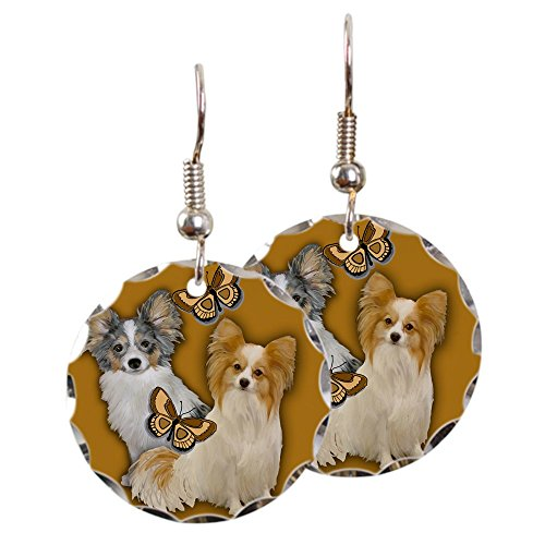 CafePress - Papillon Portraits - Charm Earrings with Round Pendant
