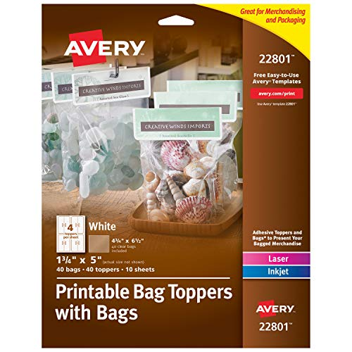 Avery Printable Bag Toppers for Laser & Inkjet Printers, Bags Included, 1.75