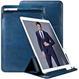 "iPad Pro 10.5 Case Sleeve Apple Pencil Holder TOOVREN Tri-fold Stand Ultra-Thin Leather PU Pouch for Apple iPad Pro 10.5 inch 9.7 inch iPad Air/iPad Air 2/Galaxy Tab S3/S2 9.7""(Navy Blue)"