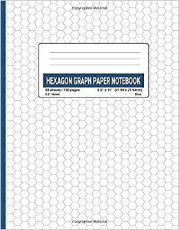 hexagon graph paper notebook 0 2 hexes blue 130 130 pages